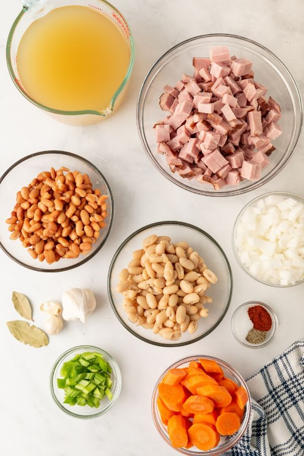 ham and bean ingredients in bowls on table