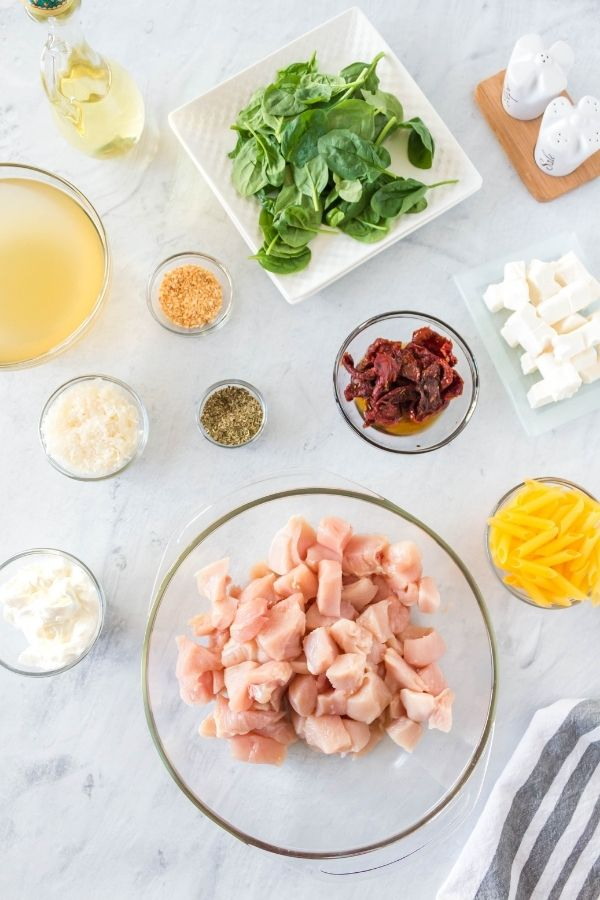 chicken and pasta ingredients on counter