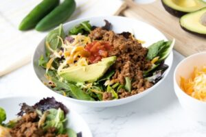 ground beef taco salad in a bowl